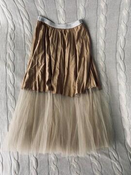 ATTI 異素材 プリーツ ロングスカート チュール 韓国ブランド