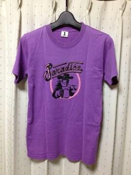 ワールドワイドラブ プリント 半袖Tシャツ Sサイズ1  紫 青 日本製 古着 ユーズド