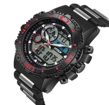 メンズ腕時計 多機能スポーツウォッチ赤黒
