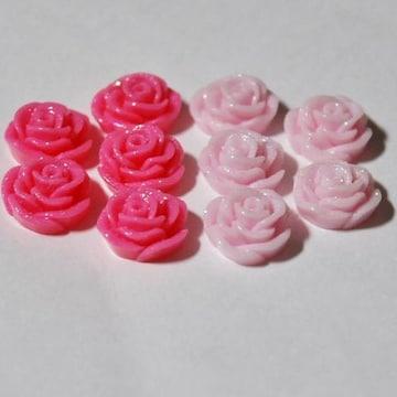 ★デコパーツ★15ミリラメ入り薔薇★2色10個★