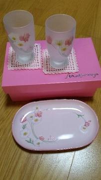 新品箱付き 梅宮アンナ トレー付きタンブラーセット ピンク 花柄
