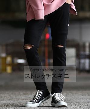 NEW♪新品ストア♪*-BLACK-ストレッチスキニーS-XL
