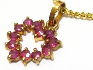 天然ルビー040キャラのオープンハート18金ペンダント女性の可愛く高貴最高ネックレス