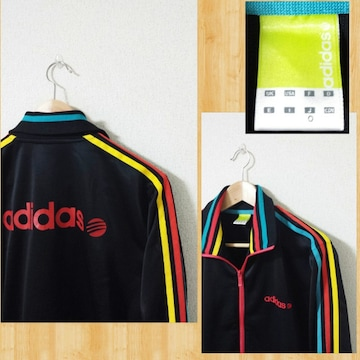 adidas アディダス ジャージ トラックジャケット 美品 O カラフル 3ストライプ