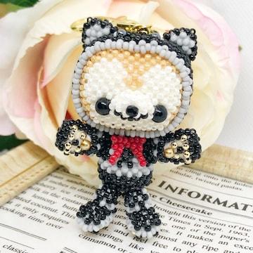 *:ハロウィン☆あみぐるみ小悪魔猫の着ぐるみくまちゃんキ-ホルダ-*: 。