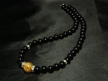 かっこいい♪タイチンルチルXオニキス数珠ネックレス