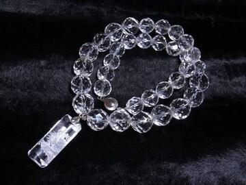 夢を叶える数珠 浮彫龍水晶トップ×ダイヤカット水晶ネックレス