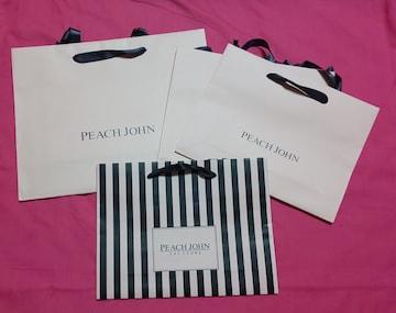 PEACHJOHNピンク黒紙袋ショップ袋4枚セットピーチジョンロゴショッパーエコバッグ