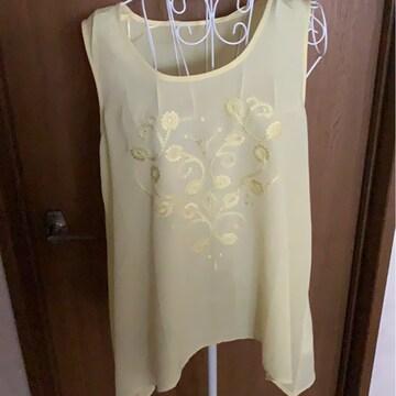 GU☆黄色★花柄刺繍★タンク★サイズ  XL