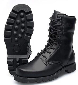 新品未使用 牛革製 公安警察/武装警察用戦闘ブーツ ハイカット