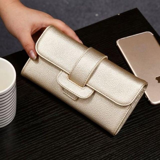 1円新品☆ふわふわ手触り二つ折りレディース長財布ゴールド金  < 女性ファッションの
