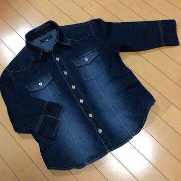 七分袖 デニム シャツジャケット ◆ L