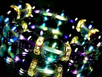 ブルーオーラ14ミリ§12ミリ§アメジスト12ミリ金ロンデル数珠