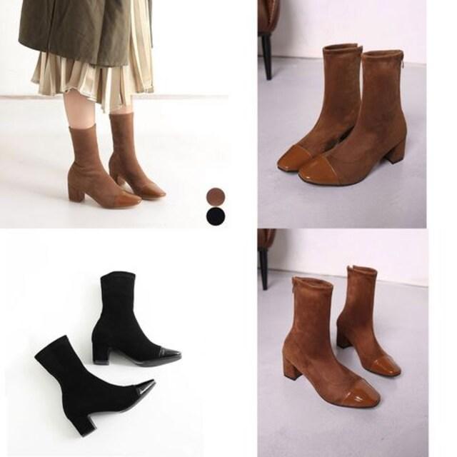 ☆最高のフィット感で履き心地が抜群♪スエード調ショートソックスブーツ/全2色 < 女性ファッションの