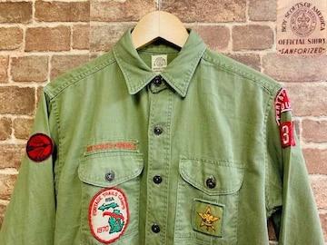 60s ビンテージ ワッペン付き ボーイスカウトシャツ 古着 アメカジ ミリタリー ワーク バイカー