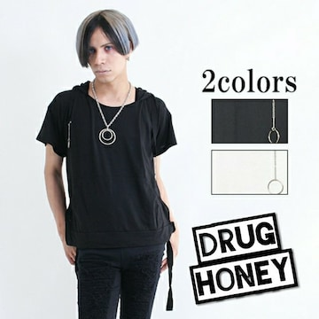 【DrugHoney】フロントポッケのリングデザイン半袖カットソー黒