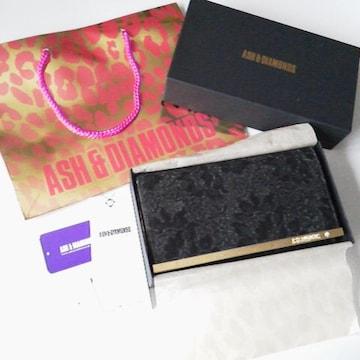 レア!ASH&DIAMONDS★キラキラセレブ系★長財布(ブラック)&紙袋 中古品 金運