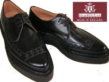 ジョージコックス新品パンク ロック トンガリ靴3705黒uk7.5