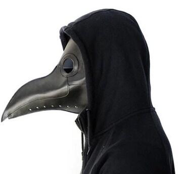 新品[7573]【ブラックレンズ黒】ペスト医師PU合皮仮面/スチームパンク