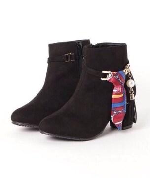 美品ハイヒールショートブーツ真珠パールスカーフアクセサリー靴