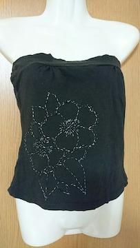 M / 黒ビーズ付きチューブトップ