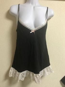 ★黒×裾レース付キャミ  M★