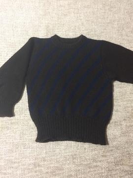 684.編み機☆茶色に紺ラインセーター