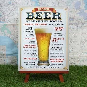 新品【ブリキ看板】ビール 世界で注文「ビールくださーい」