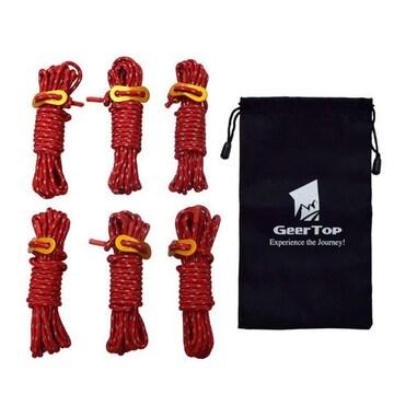 テントロープ 反射材入 パラコード ガイドロープ 赤
