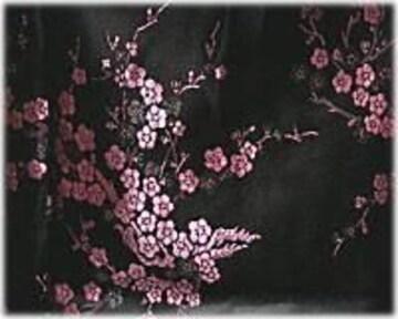 【美品】チャイナドレス★ミニ丈★梅柄/黒×ピンク