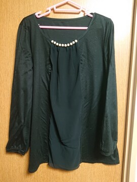INDIVI昨季美品黒パール長袖カットソープルオーバージャージ大きいサイズ4213号