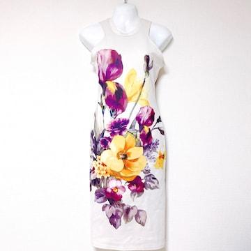 インポート白大柄フラワー花柄タイトドレスワンピース紫膝丈