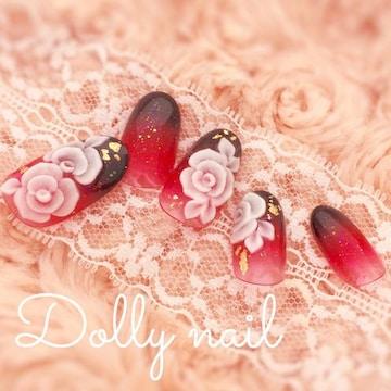 みぢょ!短めオーバル赤黒2色グラデ3D花浴衣/振袖/着物/和柄ネイル