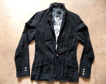 襟ワイヤー入り テーラード ジャケット 黒ブラック M