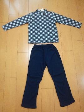 新品長袖パジャマ130紺×チェック トップバリュー イオン