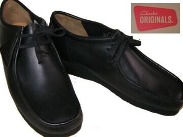 クラークス新品ワラビー ローカット ブーツ黒26103756uk7.5