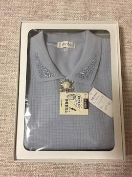 425.新品☆ブローチ付き薄手ニット☆グレー系☆サイズ3L