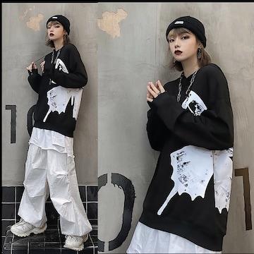 〜3Lサイド蝶柄イラストパーカーチュニック 黒