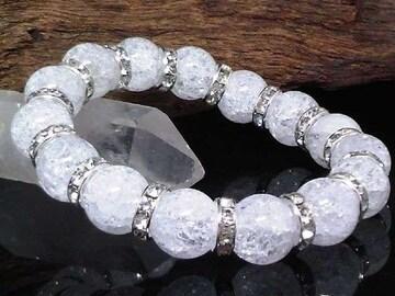 爆裂クラック水晶12ミリ§銀ロンデル数珠