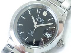 9122/SWISSMILITARYスイスミリタリー★一番人気のブラックダイヤルメンズ腕時計