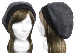 ハンドメイド◆ジャガード織ニット/リブ付ベレー帽◆杢灰系