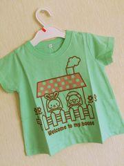 新品!!ウサギ&ブタちゃん両面プリントTシャツ95緑