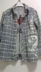 新品半袖Tシャツとチェック長袖シャツの2点セット140�p
