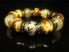 金彫皇帝龍オニキス×タイガーアイ×タイチンルチルブレスレット 16ミリ数珠