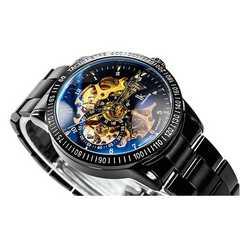 激安商品♪メンズ腕時計 スケルトン ブラックバンド 自動巻き