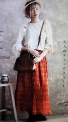 ●大人のタータンチェック プリーツスカート●新品 Red