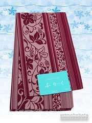 【和の志】浴衣用柄帯◇ワイン系・縞に草花柄◇GO-661