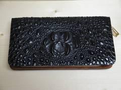 送料無料:クロコ型押し 高級感あふれる牛革 長財布