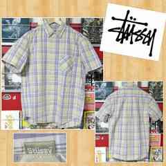 STUSSY ステューシー 半袖チェックシャツ M ジャパン正規品 パープル