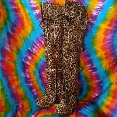 金バックル付豹柄ベロア編み上げ&ニーハイ厚底ロングブーツ■LL